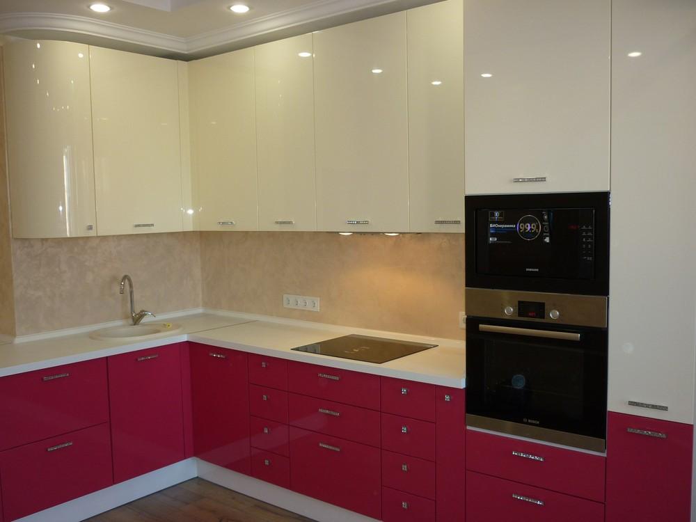 Встроенная кухня-Кухня МДФ в эмали «Модель 252»-фото1