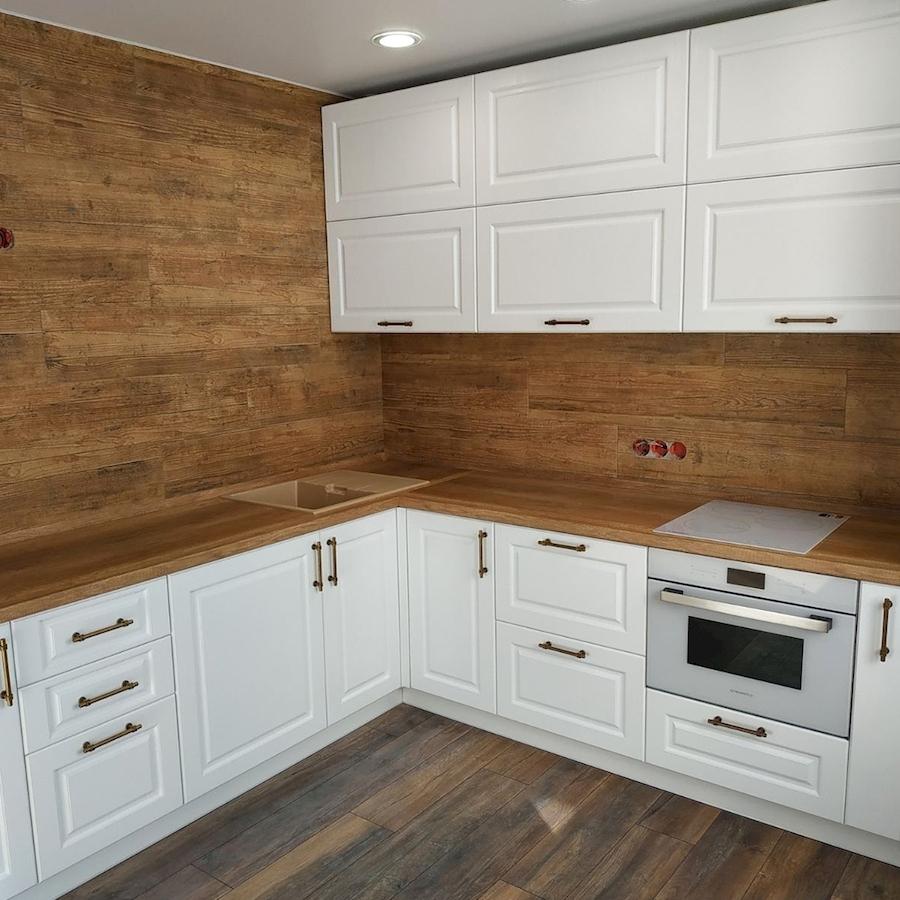 Белый кухонный гарнитур-Кухня МДФ в ПВХ «Модель 597»-фото1
