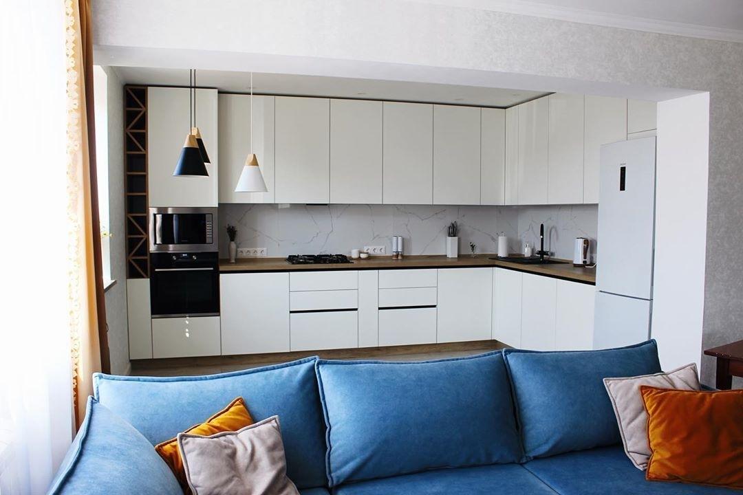 Белый кухонный гарнитур-Кухня МДФ в эмали «Модель 616»-фото1